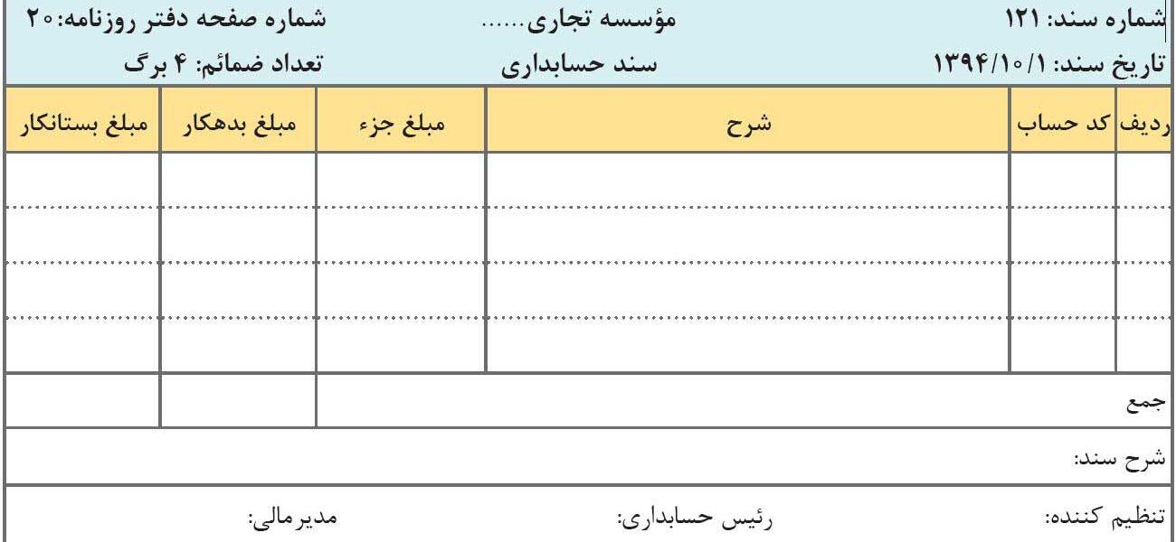 ثبت سند حسابداری
